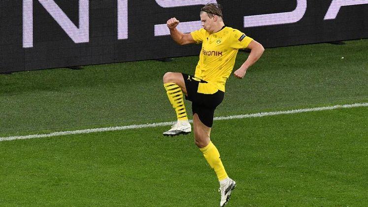 """De acordo com jornal """"Bild"""", da Alemanha, o Borussia Dortmund só aceita negociar Haaland por pelo menos 150 milhões de euros (R$ 988 milhões)."""