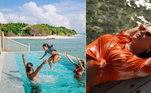 Toda a viagem da atriz foi ao lado do marido e da filha. Os três curtiram as praias paradisíacas das Maldivas e aproveitaram as boas temperaturas para brincar também na piscina: 'Conhecer o mundo tem um brilho diferente quando o meu mundo está todinho em minhas mãos', postou ela