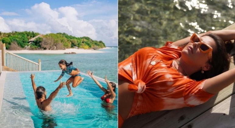 Toda a viagem da atriz foi ao lado do marido e da filha. Os três curtiram as praias paradisíacas das Maldivas e aproveitaram as boas temperaturas para brincar também na piscina: