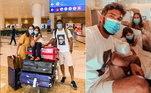 Das Maldivas, a família partiu para Dubai, nos Emirados Árabes. Eles posaram com as malas no aeroporto e também dentro do avião, prontinhos para o novo destino