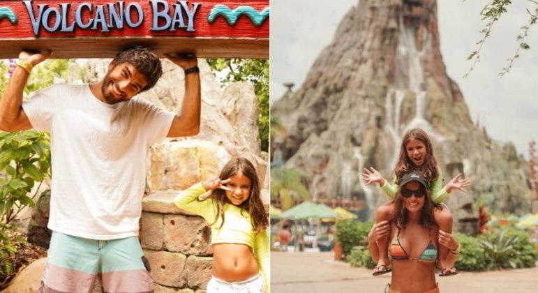 Depois dos Emirados Árabes, a família viajou para um novo destino: Orlando, nos Estados Unidos. Lá, eles visitaram atrações como o parque aquático Volcano Bay e os parques da Universal Studios