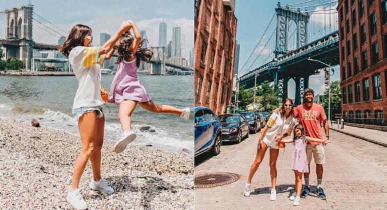 Em uma nova etapa da viagem, a família foi para Nova York. Depois de tantas fotos tiradas, Deborah brincou: