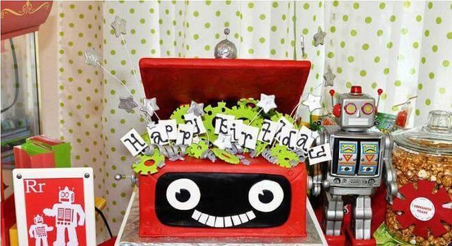 decoracao de festa infantil robo