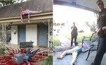 Uma casa de Dallas, no Texas (EUA), tem atraído quase diariamente a polícia até o local. O motivo? A decoração hiper-realista elaborada para celebrar o Halloween
