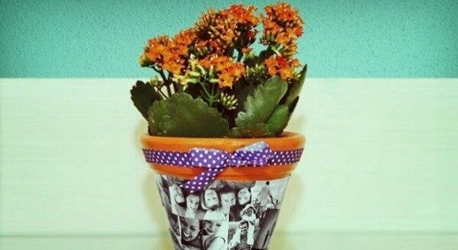 Decoupage com fotos decora o vaso de flor
