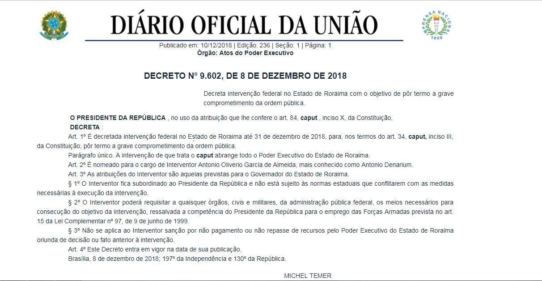 Decreto foi publicado nesta segunda-feira (10)