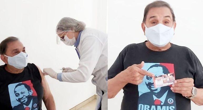 Humorista de 84 anos foi vacinado contra a covid-19