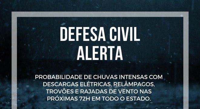 Defesa Civil Estadual alerta para chuvas e descargas elétricas nas próximas 72 horas