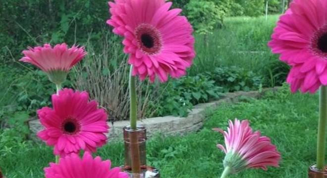 Delicados enfeites feitos com gérberas em tom rosa pink.