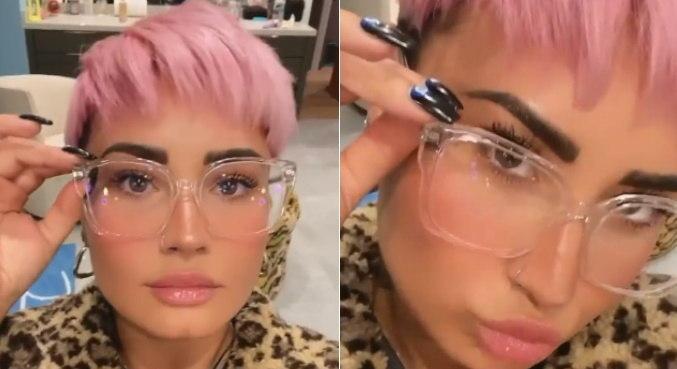 Demi Lovato mostrando o novo visual nas redes sociais e impressionando fãs