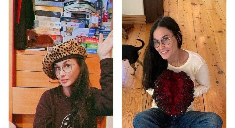 Demi Moore em fevereiro deste ano e em outubro de 2020, respectivamente