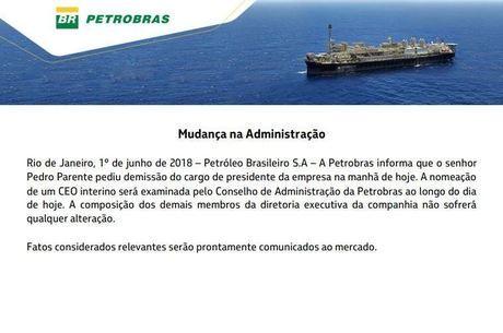 Fato relevante ao mercado com demissão de Pedro Parente