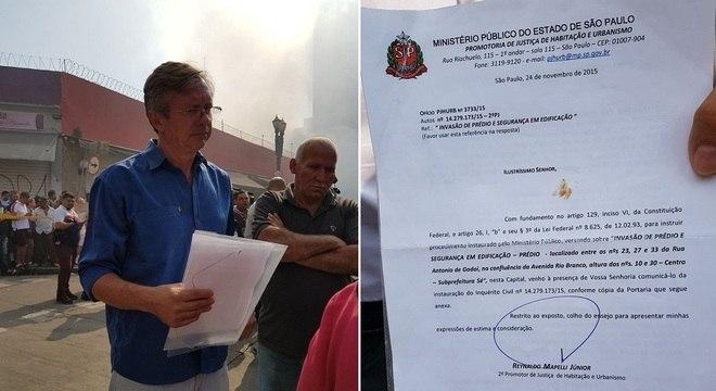Rogério Tadeu Balek  mostra denúncia no Ministério Público