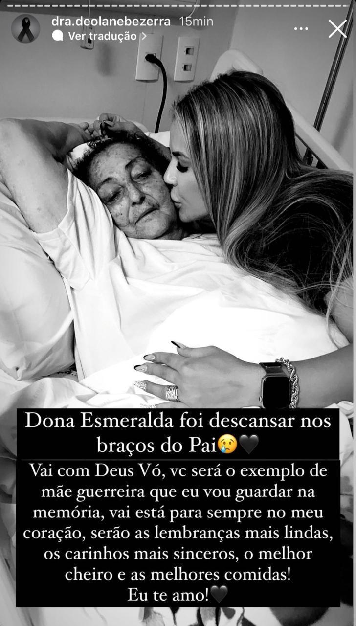 Dois meses após morte de MC Kevin, Deolane Bezerra perde a avó