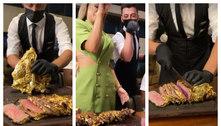 Em Dubai, viúva de MC Kevin come carne folheada a ouro