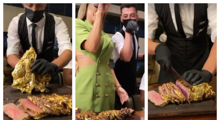 'Ouro até na carne, né, papai?!', brincou a advogada durante gravação no Instagram