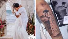 Viúva de MC Kevin faz tatuagem em homenagem ao cantor