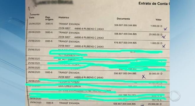 Depósitos feitos pela jovem: R$ 25 mil transferidos logo após primeira consulta