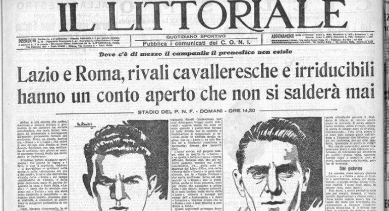 """A rivalidade, num jornal fascista de 1934, """"uma conta aberta que jamais se pagará"""""""