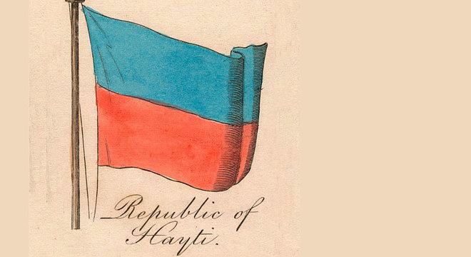 Desenho de 1838 da bandeira do Haiti, ano em que o país estava altamente endividado