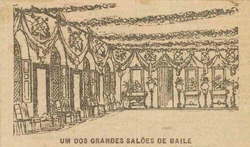 Desenho da sala de baile no Gazeta de Notícias