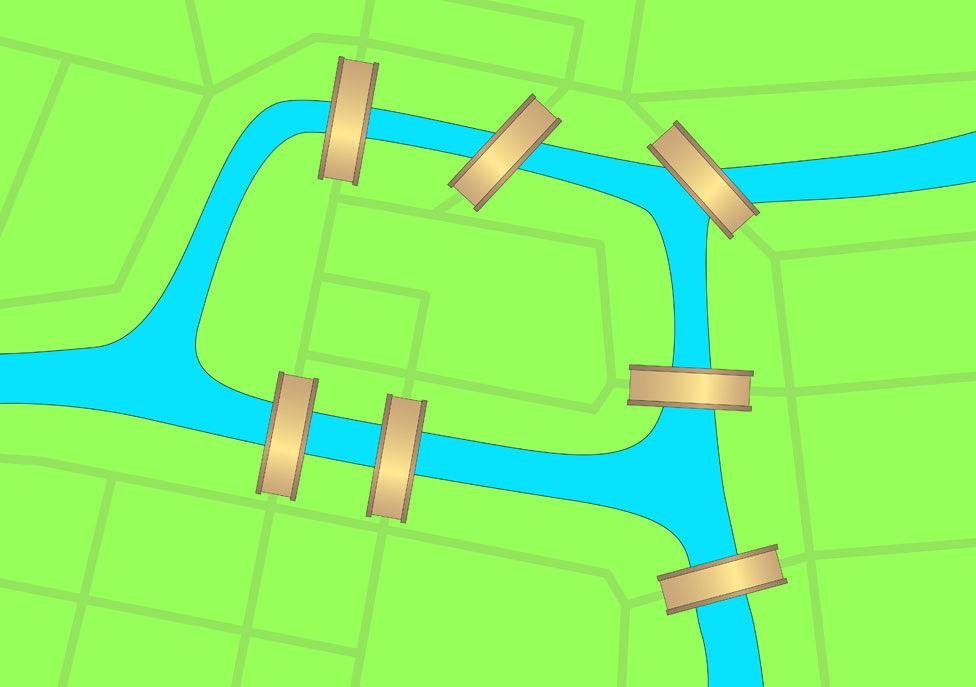 ...seria possível sair de casa em uma das quatro regiões de Königsberg, cruzar todas as pontes uma única vez e voltar ao mesmo ponto de partida?