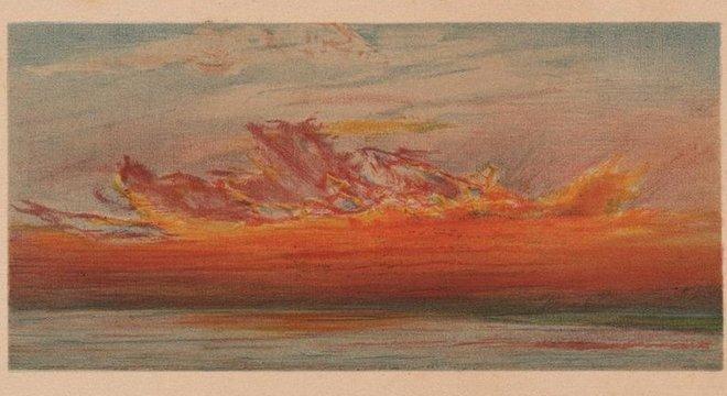 Crepúsculo sobre o rio Tâmisa em Chelsea, Londres, em 26 de novembro de 1883, em desenhos em pastel de William Ascroft