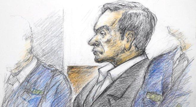 Desenho feito pelo ilustrador Masato Yamashita mostra Ghosn em audiência nesta semana Auditoria na Renault não encontrou indício de fraude