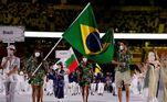 Bruninho e Ketleyn representaram os atletas do Brasil na cerimônia