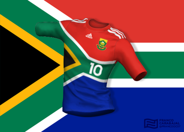 Designer cria camisas de seleções inspiradas nas bandeiras dos países: África do Sul