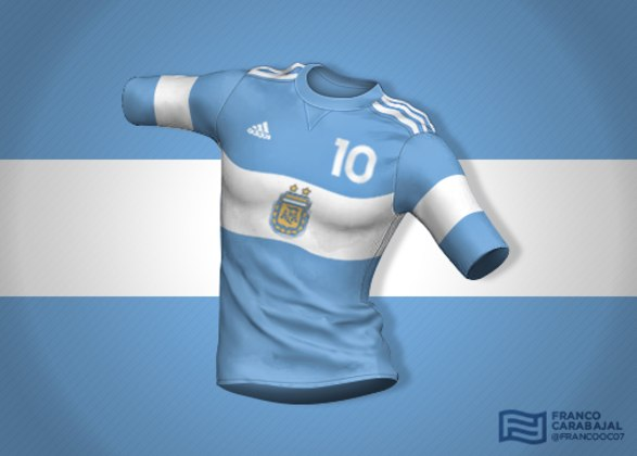 Designer cria camisas de seleções inspiradas nas bandeiras dos países: Argentina