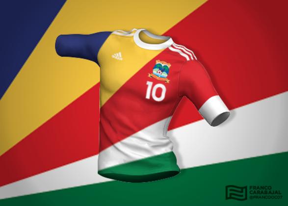 Designer cria camisas de seleções inspiradas nas bandeiras dos países: Ilhas Seychelles