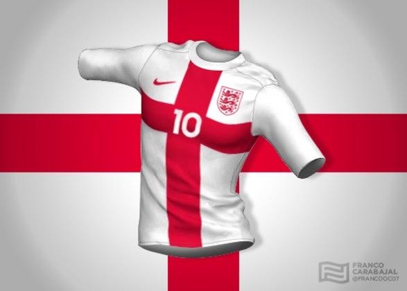 Designer cria camisas de seleções inspiradas nas bandeiras dos países: Inglaterra