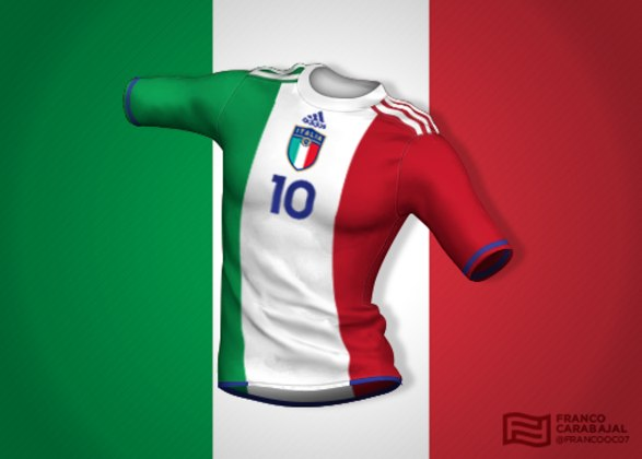 Designer cria camisas de seleções inspiradas nas bandeiras dos países: Itália