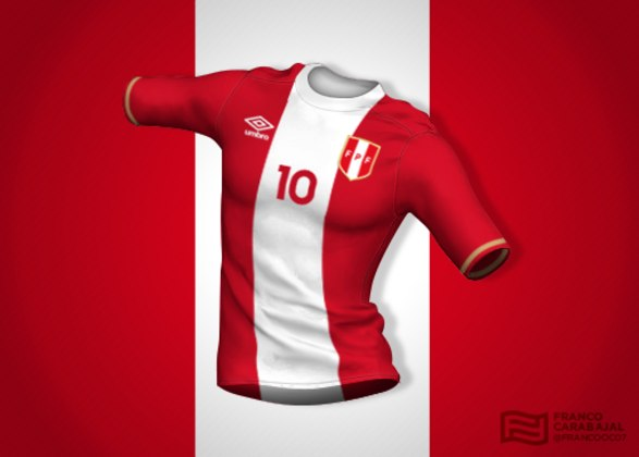 Designer cria camisas de seleções inspiradas nas bandeiras dos países: Peru