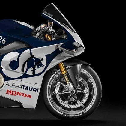 Detalhe da parte da dianteira da pintura da AlphaTauri na MotoGP