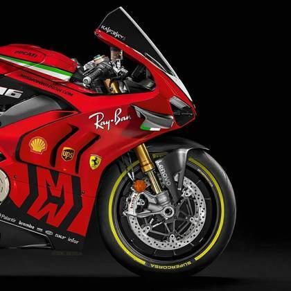 Detalhe da parte da dianteira da pintura da Ferrari na MotoGP