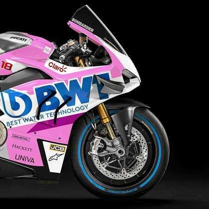 Detalhe da parte da dianteira da pintura da Racing Point na MotoGP