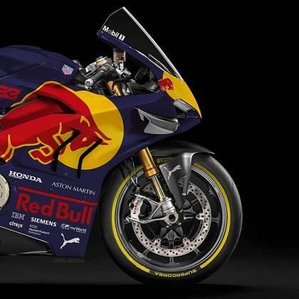 Detalhe da parte da dianteira da pintura da Red Bull na MotoGP