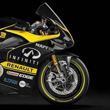 Detalhe da parte da dianteira da pintura da Renault na MotoGP