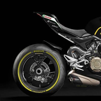 Detalhe da parte da traseira da pintura da Renault na MotoGP