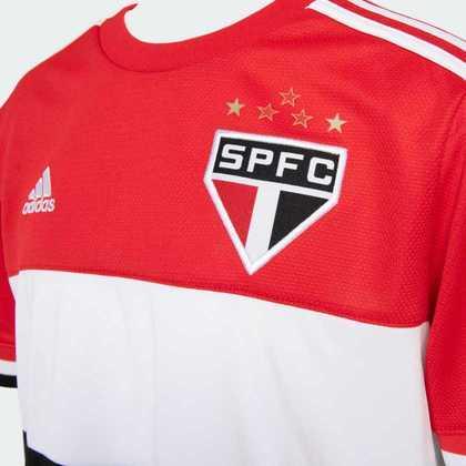 Detalhes da parte frontal da nova camisa três do São Paulo