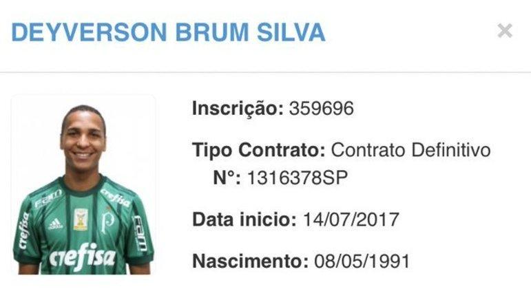 Deyverson acaba de ter publicada a sua inscrição pelo Palmeiras na CBF