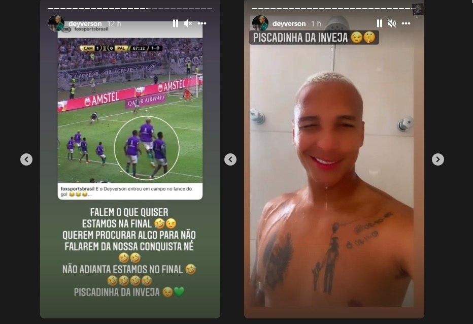 Deyverson ironiza a invasão de campo em gol do Palmeiras contra o Atlético-MG