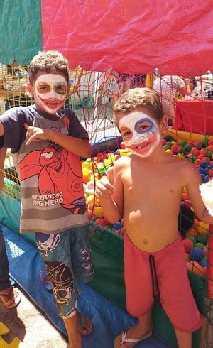Ricardo e Pedro em festa das crianças no Grajaú
