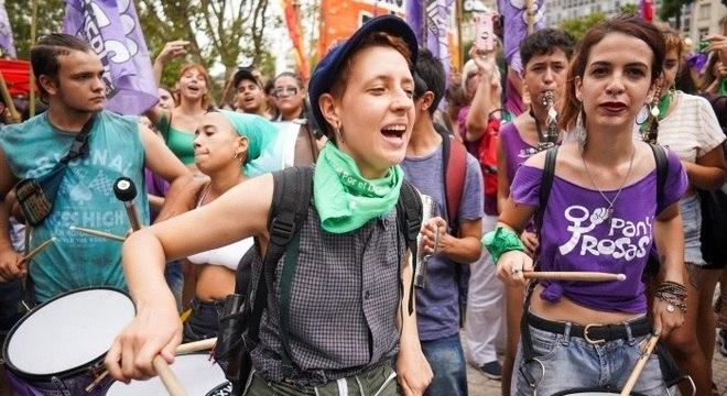 Manifestação pelo Dia Internacional da Mulher em Buenos Aires