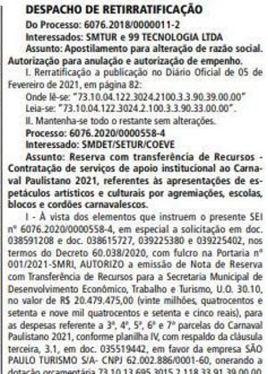 Publicação no Diário Oficial no dia 13