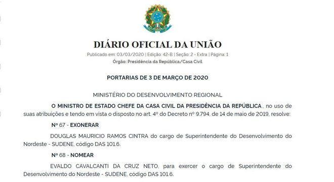 Neto substitui Douglas Mauricio Ramos Cintra