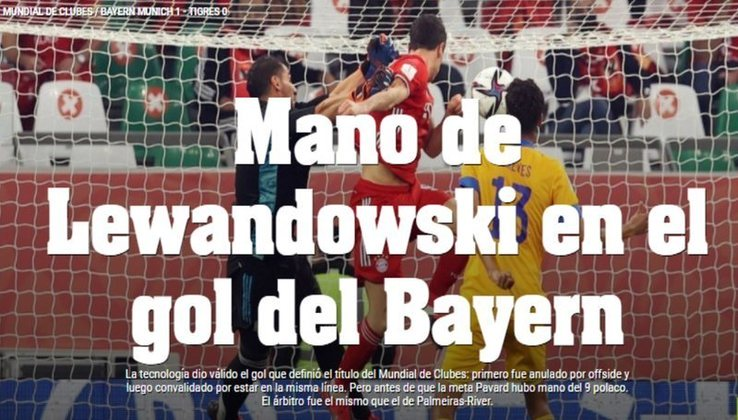Diário Olé - O jornal argentino relembrou o gol de Maradona, 'La Mano de Dios', e brincou comLewandowski.