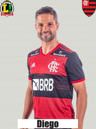 DIEGO - 6,5 Em jogo que o Flamengo teve mais de 70% de posse de bola, o camisa 10 carimbou a bola no meio de campo. Com o placar já resolvido, manteve o controle da partida com sua experiência.